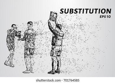 Substitution of the particles. Substitution consists of dots and circles. Vector illustration.
