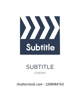 subtitle icon. Trendy flat vector subtitle icon on white background from Cinema collection, vector illustration can be use for web and mobile, eps10