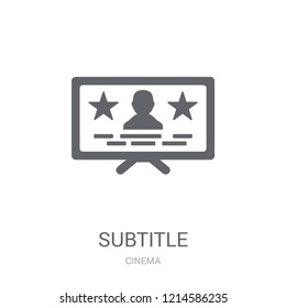 subtitle icon. Trendy subtitle logo concept on white background from Cinema collection. Suitable for use on web apps, mobile apps and print media.