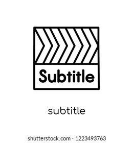 subtitle icon. Trendy modern flat linear vector subtitle icon on white background from thin line Cinema collection, editable outline stroke vector illustration
