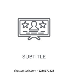 subtitle linear icon. Modern outline subtitle logo concept on white background from Cinema collection. Suitable for use on web apps, mobile apps and print media.