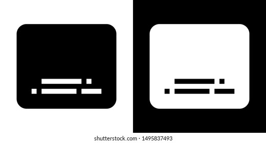 Subtitles. Glyph Icon in White and Black Version.