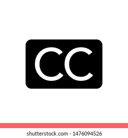 Subtitles vector icon, closed captioned symbol. Simple, flat design for web or mobile app