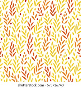Subtle golden yellow and red leaves floral seamless pattern on white, vector