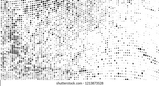 Subtle halftone vector texture overlay. Futuristic twisted grunge pattern, dot, circles. Monochrome abstract splattered background