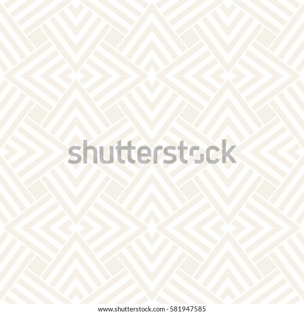Subtle Ornament With Striped Rhombuses. Vector Seamless Monochrome Pattern