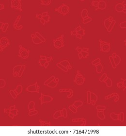 Subtle Red Christmas Ornaments Seamless Pattern - Great for Christmas and Winter Projects, Wrapping Paper, Backgrounds, Wallpapers.