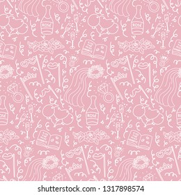 Subtle seamless doodle pattern with bachelorette party decorations. Selfie stick,  ballons, props, veil, champagne, diamond rings, roses, signing book. Pink background. Background design element.