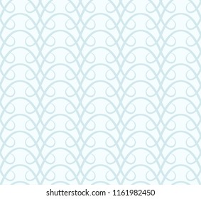 Subtle seamless pattern, abstract swirly vector ornament in blue color