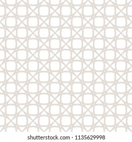 Subtle seamless pattern. Vector texture with delicate grid, net, mesh, lace, lattice, weave. Simple abstract white and beige geometric background, repeat tiles. Minimalist design for decor, fabric