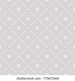 Subtle vector geometric seamless pattern with delicate square grid, small elements. Simple modern abstract background. Silver texture in neutral colors, white and gray. Design for decor, prints, cloth