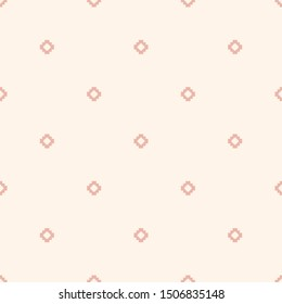 Subtle vector minimalist floral geometric seamless pattern. Simple texture with small crosses, squares, flower silhouettes, dots. Pixel art background. Pink and white color. Minimal repeat design