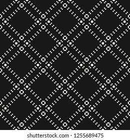 Subtle vector minimalist seamless pattern with tiny squares in diagonal square grid. Abstract black and white geometric texture with delicate net, lattice, mesh. Dark monochrome repeat background