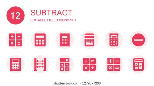 subtract icon set. Collection of 12 filled subtract icons included Calculator, Abacus, Calculation, Minus