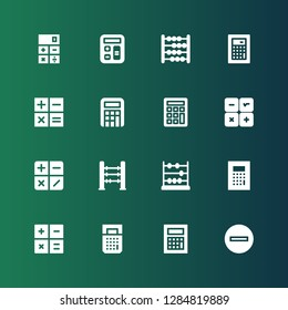 subtract icon set. Collection of 16 filled subtract icons included Minus, Calculator, Abacus, Calculation