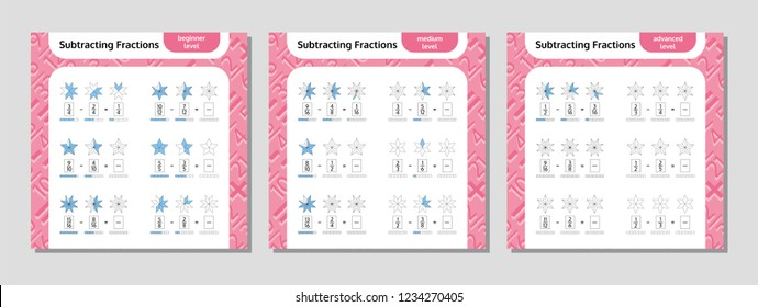 Subtracting Fractions Mathematical Worksheet Set. Stars. Coloring Book Page. Math Puzzle. Educational Game. Vector illustration.