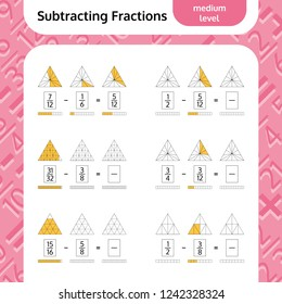 Subtracting Fractions Mathematical Worksheet. Triangles. Coloring Book Page. Math Puzzle. Educational Game. Vector illustration.