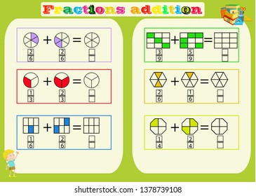 Subtracting Fractions Mathematical Worksheet. Triangles. Coloring Book Page. Math Puzzle. Educational Game. Vector illustration.Printable Fractions Worksheets for kids , fraction addition problems.