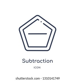 subtraction icon from user interface outline collection. Thin line subtraction icon isolated on white background.