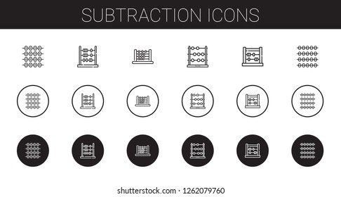 subtraction icons set. Collection of subtraction with abacus. Editable and scalable subtraction icons.