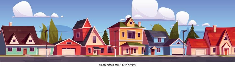 郊外の家々、郊外の街並み、住宅街、郊外の2階建ての建物、ガレージが建ち並ぶ。 庭の前に緑の木とアスファルトの道が並ぶ家庭。 漫画のベクターイラスト