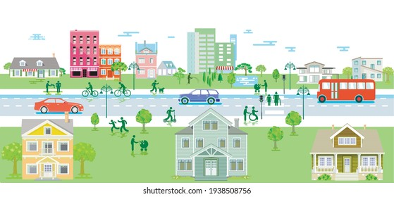 Suburb with pedestrians and road traffic, illustration