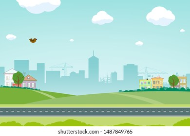 Suburb with a road against the background of a city with skyscrapers. Vector illustration