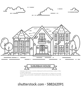Suburb skyline in line art style - landscape with private house, trees and clouds. Isolated vector illustration of beautiful cityscape for real estate and property banner or card.