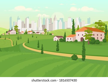 Suburban area flat color vector illustration. Countryside near city. Urban estate. Downtown scenery. Skyscrapers on horizon. Residential houses 2D cartoon landscape with skyline on background