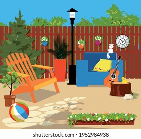 Suburban backyard in summer, cozy space decorating with seasonal flowers, no people, EPS 8 vector illustration