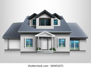 Suburban family house with garage. Quality vector