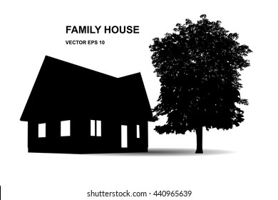 Suburban family house. Illustration of  icons with house and trees, isolated on white background. Vector background.