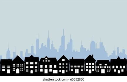 Suburban homes and big city