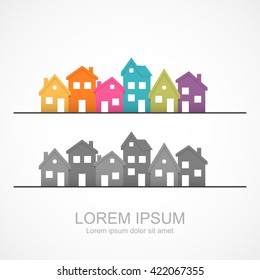 Suburban homes icon. Easy to change colors.