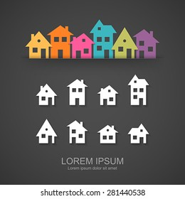 Suburban homes icon set. Easy to change colors.