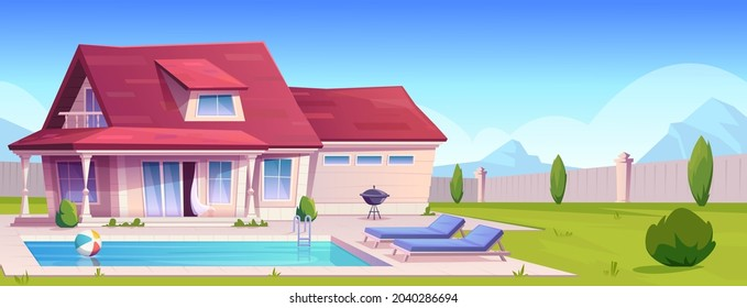 Suburban house, residential cottage, real estate countryside building exterior. Two storey dwelling place with pool