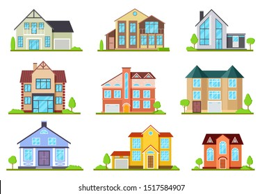 Suburban houses. Family house, village cottage. Outdoor architectural elements, modern buildings exterior. Flat vector set