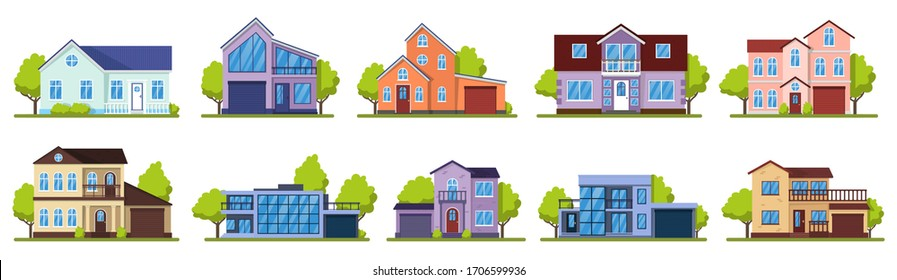 Suburban houses. Living real estate house, modern country villas. Home facade, street architecture vector illustration icons set. House building, home estate suburban, architecture living illustration