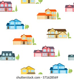 Suburban houses seamless pattern. Vector illustration. American houses seamless pattern.