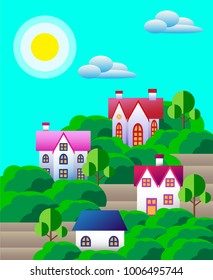 Suburban houses with trees and sky . Vector colorful illustration in flat design style