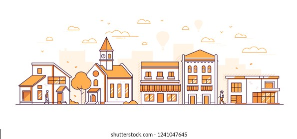 Suburban landscape - modern thin line design style vector illustration on white background. Orange colored high quality composition with facades of buildings, town hall, shops, trees, people walking