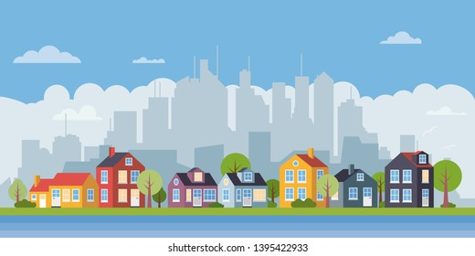 Suburban landscape. Village at the river, cityscape in background flat design vector illustration
