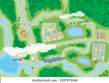 Suburban map with houses with car, boats, trees, road, river, forest, lake and clouds. Village aerial view. Vector illustration in flat style