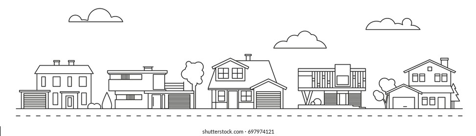 Suburban neighborhood panorama line art with classic, mid-century and contemporary houses