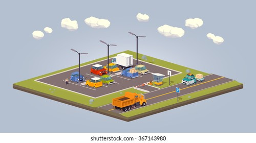 Suburban parking lot. 3D lowpoly isometric vector concept illustration