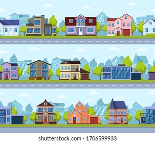 Suburban seamless cityscape. Panoramic street house exterior, modern real estate. Living houses panorama scene vector seamless illustration set. Cityscape panoramic suburban street district road