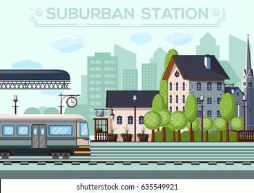 Suburban Station. City life design. Small railway station in a European city. Vector illustration