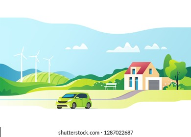 Suburban traditional house. Family home with auto. Vector illustration.
