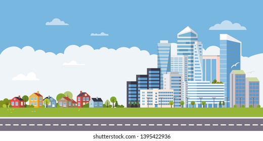 Suburban and urban landscape. Cottages at one end of the road, highrises and skyscrapers at the other,  flat design vector illustration