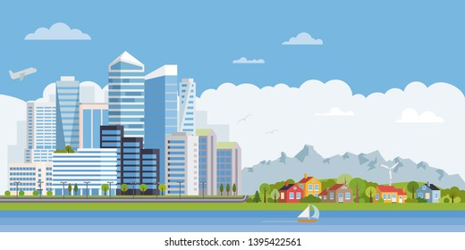 Suburban and urban landscape. Highrises and skyscrapers opposed to cottages, forest and mountains. Flat design vector illustration